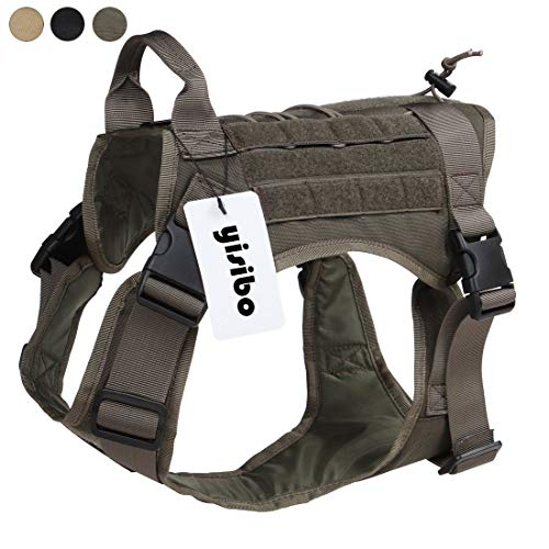 """yisibo Comfortable Tactical Dog Vest-Nylon Durable,Molle System,Adjustable Dog Harness,Extra-Large (31.5""""-39.5"""" Chest Girth),Ranger Green"""