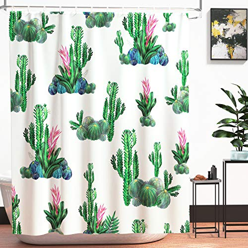 - Cirlife Fabric Shower Curtain Art Printed Tropical Cactus with 12pcs Curtain Hooks, Waterproof Thick Bathroom Window Curtains, Machine Washable (71