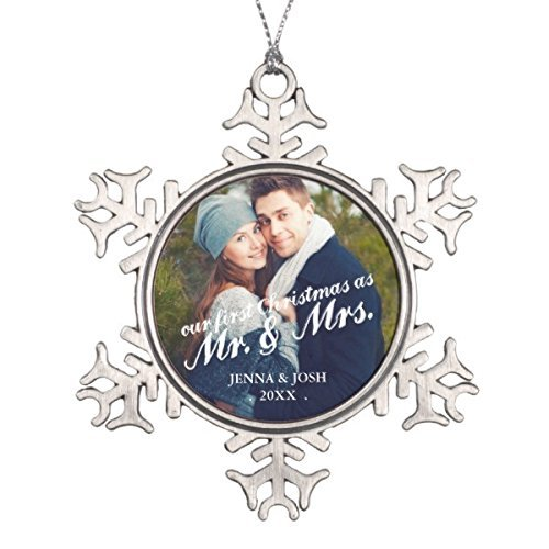 Price comparison product image Dozili Contemporary First Christmas Mr. & Mrs. Photo Snowflake Pewter Christmas Ornament