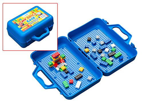 My Brick Case: Portable Storage For Kids Building Bricks With Play Surface For Storing And Building Bricks On-The-Go (Blue) (Studded Box)