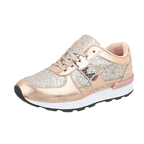 Baskets Basses Design Italien Chaussures Femmes Lacets Casual Or Rose G-102