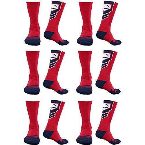 EvoShield Performance Crew Socks Red With Navy & White Large (6 pack) by EvoShield