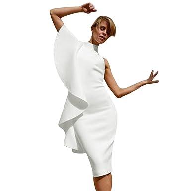 low priced 119cd 4b009 Frauen Sleeveless Holiday Solid Kleid Damen Sommer Rüschen Party Sexy  Halfter One Shoulder Spitzenkleid Damen Kleider mit Knöpfe Aus Schulter ...