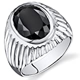 Mens 7.00 Carats Black Onyx Oval Ring Sterling Silver Sizes 8 To 13