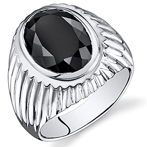 Mens 7.00 Carats Black Onyx Oval Ring Sterling Silver Size 8 (Oval Cut Black Onyx Ring)