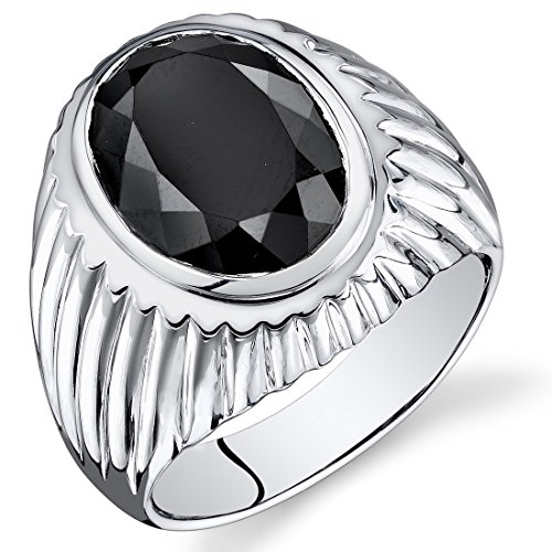 Mens 7.00 Carats Black Onyx Oval Ring Sterling Silver Size 13
