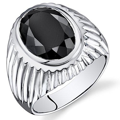 Mens 7.00 Carats Black Onyx Oval Ring Sterling Silver Size 8 Bezel Set Oval Onyx Ring