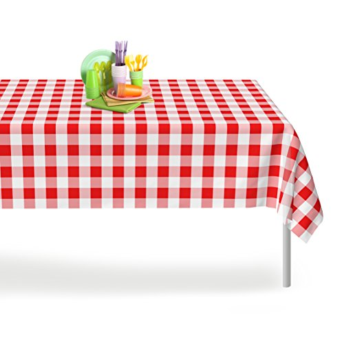 Red Gingham Checkered 12 Pack Premium Disposable Plastic Picnic Tablecloth 54 Inch. x 108 Inch. Rectangle Table Cover By -