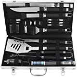 Grilljoy BBQ Grill Tool Set, 24pcs Stainless Steel BBQ Accessories with Black Non-Slip Handle in Aluminum Case, Premium Complete Outdoor BBQ Utensil Gift for Man