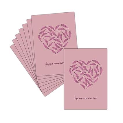 Tarjeta cumpleaños feliz corazón - 8 tarjetas - Tarjeta ...