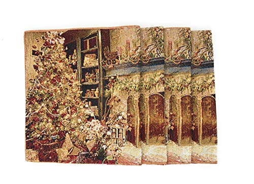 "DaDa Bedding Golden Christmas Placemats - Set of 4 Festive Holiday Fireplace Tapestry - Cotton Linen Woven Dining Table Mats - 13"" x 19"" ()"