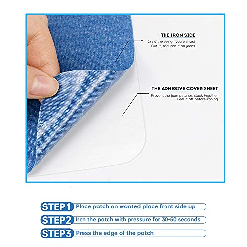 """Harsgs 12 Pieces Iron On Denim Patches Sewing Repair Patches Rectangle Iron on Inside & Outside for Clothing and DIY Repair 5""""× 3.7"""", 4 Colors"""