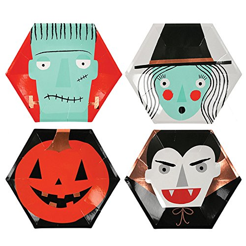 Halloween Party Supplies Halloween Decorations Ideas Large Paper Plates Assorted 10 x 10 Inches Pk of 16