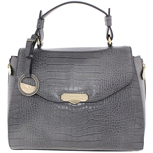 Versace Collection Womens Leather Embossed Satchel Handbag Gray - Versace Cheap For