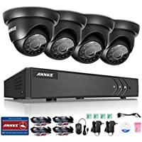 ANNKE 8CH 1080P Lite HD TVI Surveillance DVR Kits with 4 Weatherproof 3.6mm Lens 66FT Night Vision 720P CCTV Cameras, Support Scan QR Code Quick Remote Access,NO HDD