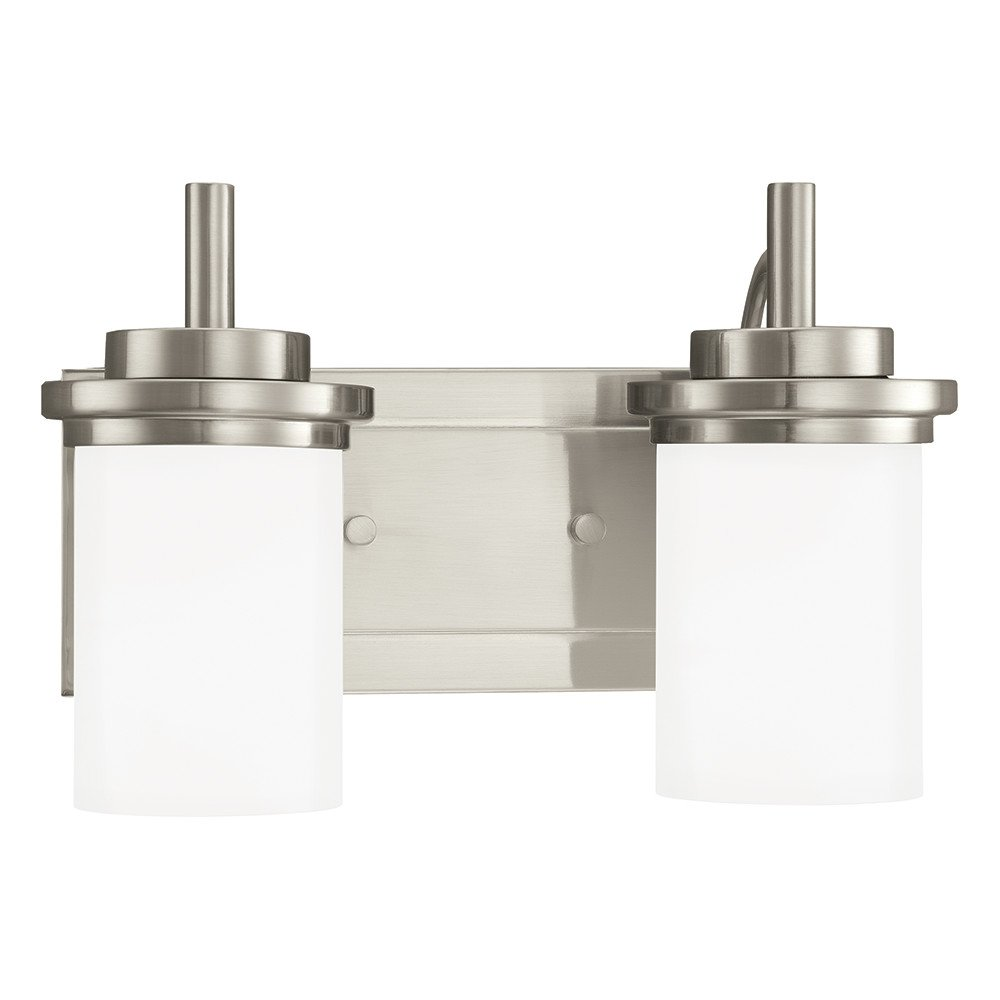 Sea Gull Lighting 44661-962 Winnetka Two-Light Bath or Wall Light Fixture with Satin Etched Glass Shades, Brushed Nickel Finish
