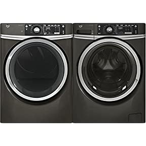GE 721054 Diamond Grey Front Load Washer with GFW480SPKDG 28' Washer and GFD48ESPKDG 28' Electric Dryer