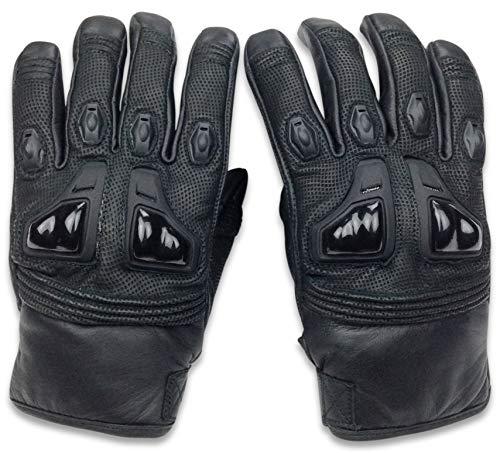 Genuine Leather Motorcycle Gloves Cowhide Biker Riding Hard Knuckle Gloves Mens (RacerX, Medium)