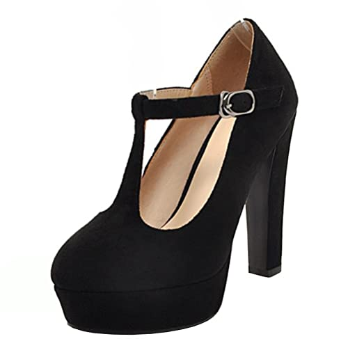Atyche Women s High Block Heel T-Bar Court Shoes Mary Janes Platfrom  Evening Party Summer