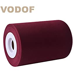 6 Inch x 100 Yards (300FT) Tulle Roll Spool Tutu Skirt Fabric Wedding Party Gift Bow Craft (Burgundy)