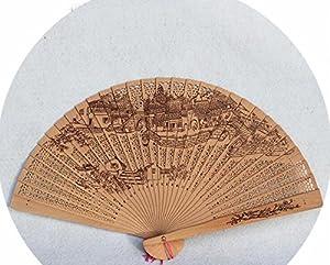 Fan Folding fan Aquilaria fan Wood fan High-grade Myanmar wooden Tan Hong Fan Crafts fan With a Muhe Fan Box Style C