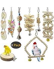 AIDIYA 8 Packungen Vogelspielzeug, Vogelkäfig-Schaukel für Vögel und Papageien, Vogelkäfig-Spielzeuge - Natürliches Holz zum Aufhängen, für kleine Sittiche, Nymphensittiche, Sittiche