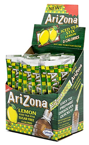 Arizona Lemon Iced Tea Stix Sugar-Free, 30 Count Box (Pack of 1), Low Calorie Single Serving Drink Powder Packets, Just Add Water for a Deliciously Refreshing Iced Tea Beverage ()