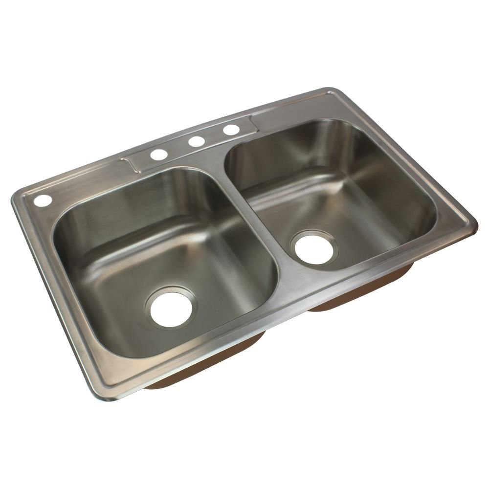 Transolid CTDE33228-4 Classic 4-Hole Drop-in 50/50 Double Bowl 18-Gauge Stainless Steel Kitchen Sink, 33-in x 22-in x 8-in, Brushed Finish