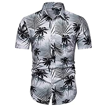 ♛2019 Clearance Sale♛ - Chamery Summer Shirt for MenFashion Men's Casual Button Hawaii Print Beach Short Sleeve Quick Dry Top Blouse(Black,L)