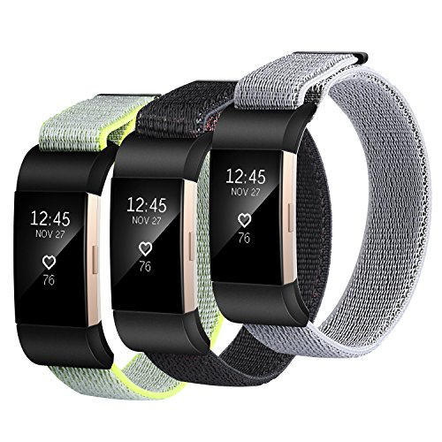 Nylon Bands for Fitbit Charge 2, SailFar 3 PCS Woven Nylon Band Bracelet Adjustable Replacement Nylon Accessories with Velco Sport Loop Small & Large Band for Fitbit Charge 2, Men/Women