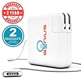 Genius MacBook Pro / Air Charger 85W Power Adapter With MagSafe 2 (T) Style Connector - Works With 45W / 60W / & 85W MacBooks -11/13/15, Retina Display - Compatible With Macbooks (LATE 2012) & After