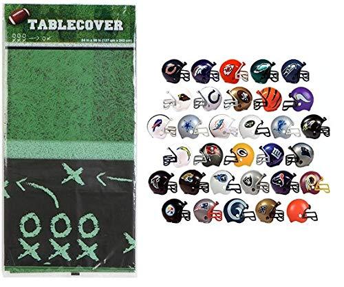 - Football Table Cover with 12 Random Helmets Party Decoration Pack Birthday Sports Themed Set