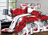 7 Piece Set Red Rose and Love Heart 3d Comforter Set Including Matching 3d Sheet Set (014) (Queen)