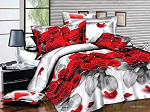 7 Piece Set Red Rose and Love Heart 3d Comforter Set Including Matching 3d Sheet Set (014) (Queen)
