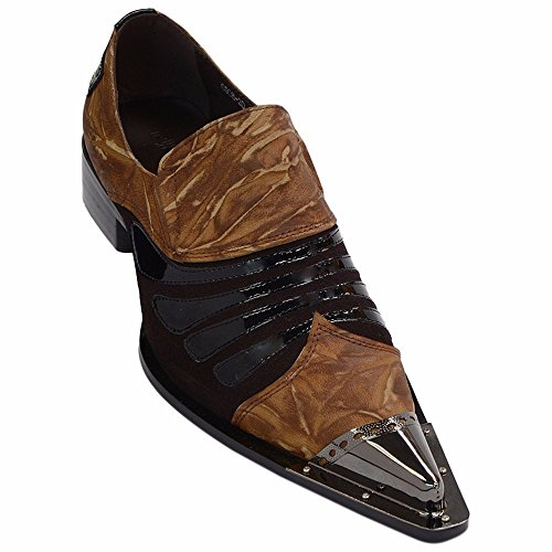 (Zota Mens Brown Copper Patent Leather Slipon Dress Party Pointed Metal Tip Shoe)
