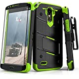 Zizo BOLT Series compatible with LG Stylo 3 Case Military Grade Drop Tested with Tempered Glass Screen Protector, Holster, Kickstand BLACK NEON GREEN