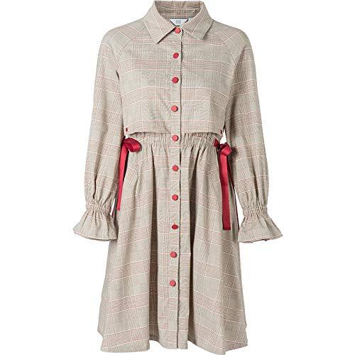 Woman Dress Plaid Shirt Dress Female Spring Lapel Retro Waist Long Paragraph A Word Skirt