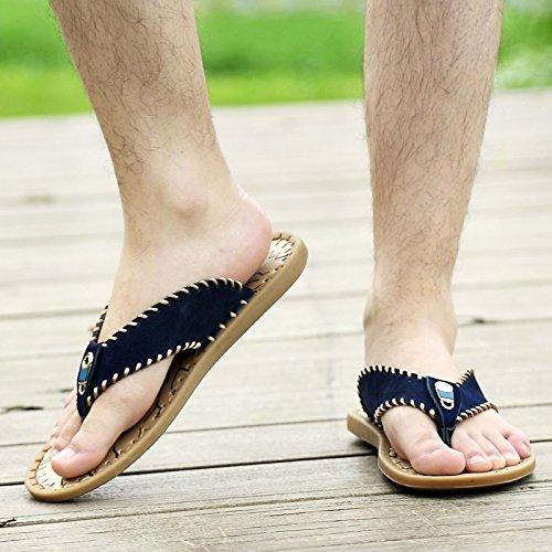 Abby Qzyyu-1006-8 Ny Menns Stil Konsis Fritid Pustende Kjekk Flat Klassisk Øvre Lær Flip Flops Sjarmerende Sandaler Thong Split Åpen Tå Blå