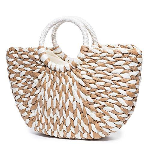 Drawstring Shopper Bag - JOSEKO Summer Beach Bag, Women Paper Handbag Top Handle Big Capacity Travel Tote Purse (17.32''x 1.18''x 13.39''(L x W x H))