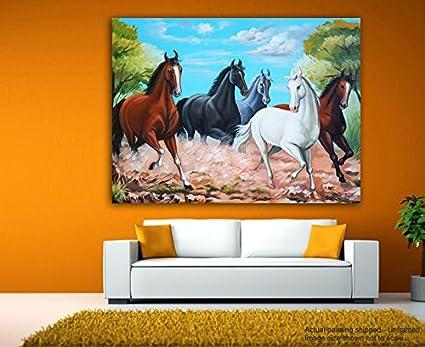 tamatina canvas paintings lucky running horses vastu canvas