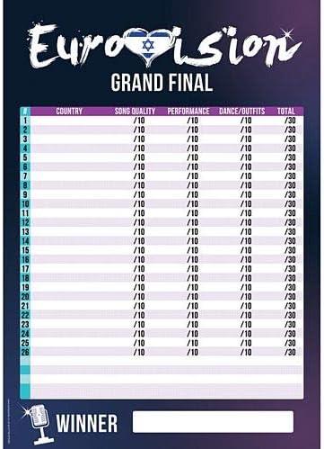 idealWigsNet Póster de la Hoja de puntuación de Eurovisión - A3: Amazon.es: Juguetes y juegos