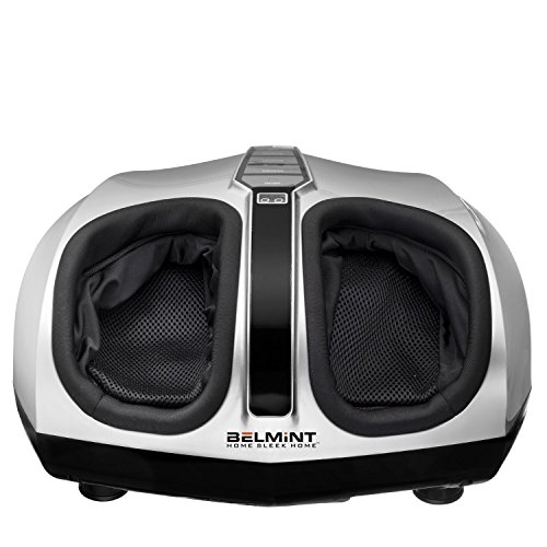 Belmint Shiatsu Foot Massager Machine with Heat Function, Multi Settings Deep-Kneading Shiatsu therapy Feet Massager – Silver