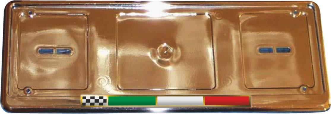 Quattroerre 1263 Portatarga Cromato Anteriore e Posteriore Universale con Bandiera Italia 3D