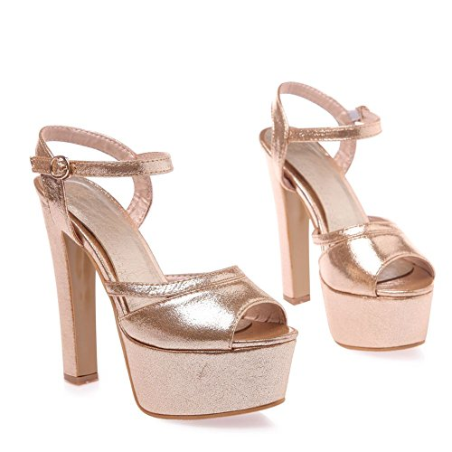 Pump Formal Heel Ankle Pump SaraIris Dress Platform Sandal High Toe Peep Strap Women's Sandals Gold qZH474x1