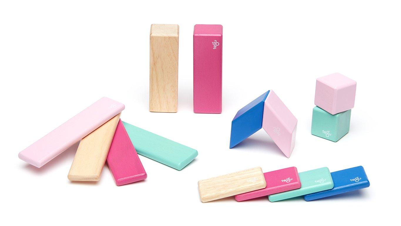 Tegu 14Piece Magnetic Wooden Block Set, Blossom Magentic Blocks