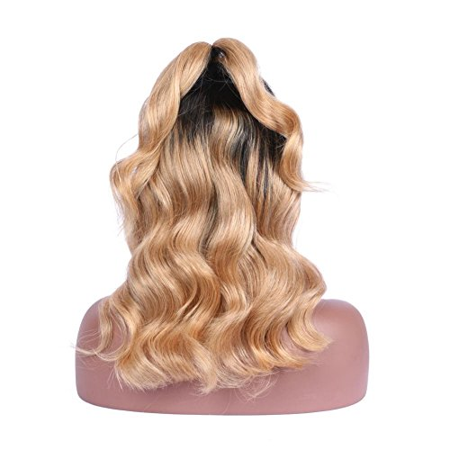 Glueless Full Lace Wigs Human Hair Ombre Wig Black Roots 1B 27 Body Wave 100% Real Indian Virgin Hair Lace Front Wig With Baby Hair (8 Inch Lace Front (Black Long Wig With Two Braids)