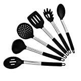 Moyad Kitchen Utensil Set 6 Piece Stainless Steel and Silicone Cooking Untensils for Nonstick Cookware, Black