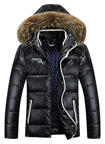 BAMan Men Quilted White Detail Zipped Raccoon Fur Lined Hood Down Jacket, Black XL,Manufacturer(XXXL)