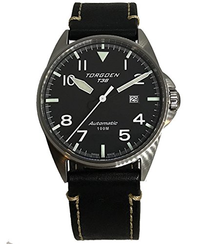 Torgoen T38 Black Dial Swiss Made Automatic Watch | 44mm - Vintage Leather Strap | Sapphire Crystal