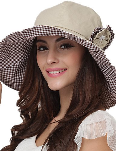 Suvsertu Summer Hats Floppy Sun Hat Cotton Beach Hat Ladies Solid Color  Brimmed Hat UV 8526066d7af